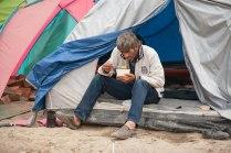 Szene im Flüchtlingslager Idomeni