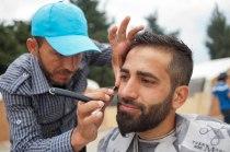 Friseur im Flüchtlingslager Idomeni