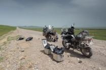 Reifewechsel an der kasachischen Grenze.