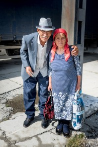 Reisende an der Russisch-Mongolischen Grenze